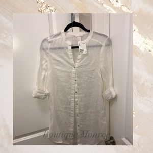 NWT H&M sheer white beach tunic/dress shirt
